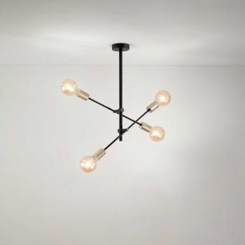 """Perenz Plafoniera moderna con 4 lampadine orientabili in metallo verniciato """"Vector""""  Nero"""