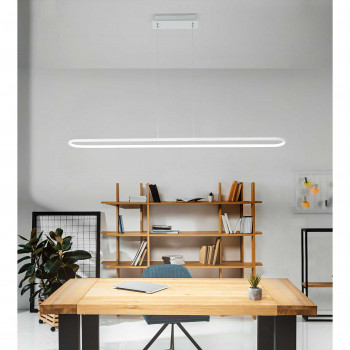 "Perenz Sospensione a LED in stile moderno minimalista in metallo verniciato ""Circuit""  Bianco Lumen 3280 3000k Luce Calda"