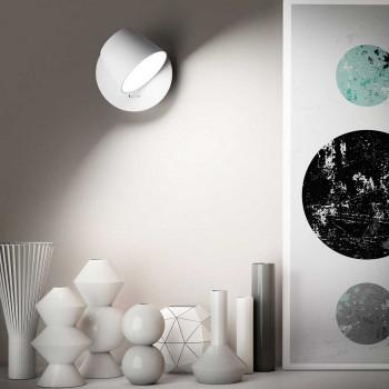 "Perenz Applique design moderno a Led orientabile in metallo con interruttore ""Zoid""  Bianco Lumen 459 3000k Luce Calda  6628BLC"
