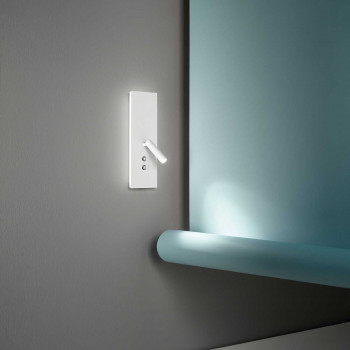 "Perenz Applique a LED dimmerabile di design moderno in metallo con porta usb ""Plate""  Bianco Lumen 839+255(Faretto) 3000k Luce Calda"
