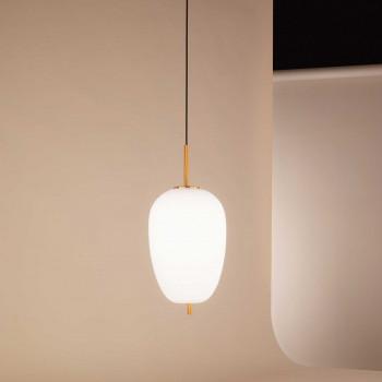 """Perenz Sospensione a LED ovale moderna in metallo oro spazzolato e vetro """"Cirro""""  Bianco Lumen 1435 3000k Luce Calda  6672BLC"""