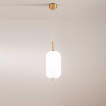 """Perenz Sospensione a LED allungata moderna in metallo oro spazzolato e vetro """"Cirro""""  Beige/Senape Lumen 1435 3000k Luce Calda  6670BLC"""