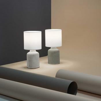 """Perenz Lampada da tavolo design moderno in ceramica con paralume in tessuto """"Provenza"""""""