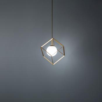 Perenz Illuminazione a sospensione in metallo verniciato diffusore sferico in vetro Cube     6695