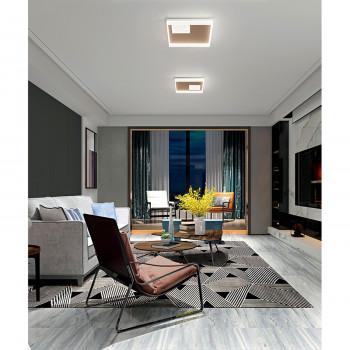 Perenz Plafoniera a LED moderna in metallo verniciato diffusori acrilico satinato Boxe Bianco/Oro Lumen 2657 3000k-4000k-6000k Dimmerabile  6855ORCT