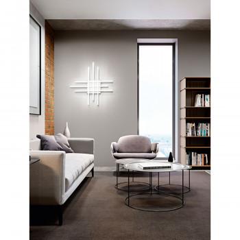 Perenz Plafoniera a LED in alluminio con 6 diffusori incrociati in acrilico satinato Laser Bianco Lumen 3600 3000k-4000k-6000k Dimmerabile  6878BCT