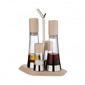"""Bugatti Oliera 4 pezzi, ampolle in vetro, tappi e base di appoggio in leno """"Trattoria"""""""