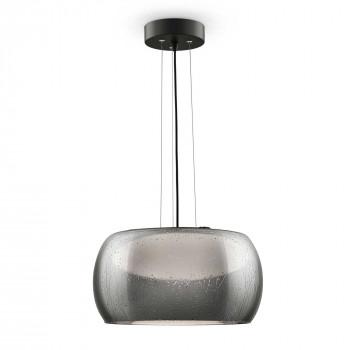 Maytoni Lampadario a sospensione piccolo con LED e diffusore rotondo in vetro Solen Nero Lumen 450 3000k Luce Calda  MOD073CL-L13B3K