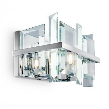 Maytoni Applique da parete grande in metallo con diffusore in vetro dal design moderno Cerezo Cromato    MOD201WL-02N