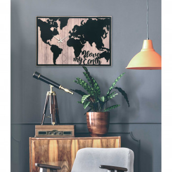 Bongelli Preziosi Orologio da parete moderno in legno con planisfero per arredare il soggiorno