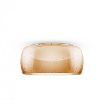 Maytoni Plafoniera grande a LED con diffusore rotondo in vetro dallo stile moderno Solen Ambra Lumen 800 3000k Luce Calda  MOD074PL-L16B3K