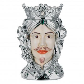 Bongelli Preziosi Testa di moro maschile decorata a mano dallo stile moderno  Argento    ME1883
