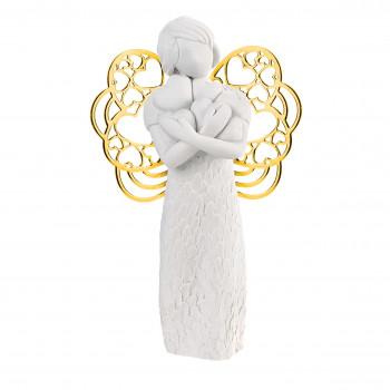 Bongelli Preziosi Bomboniera Comunione - Scultura con angelo ali dorate che abbracia dei cuori      ME1652/1OR