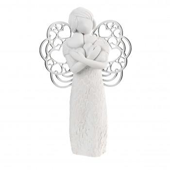 Bongelli Preziosi Bomboniera Comunione - Scultura con angelo che abbracia dei cuori      ME1652/1