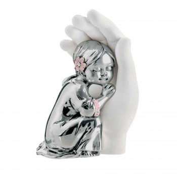 Bongelli Preziosi Bomboniera Battesimo - Scultura Bambina abbracciata argentata      ME1692