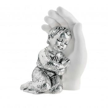 Bongelli Preziosi Bomboniera Battesimo - Scultura Bambino abbracciato argentato      ME1691