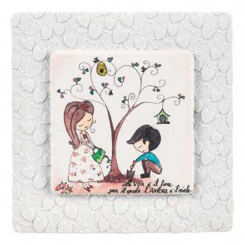 Bongelli Preziosi Bomboniera Vari Eventi - Quadretto piccolo con albero della vita con dedica      ME1837