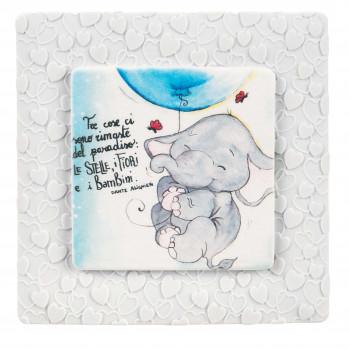 Bongelli Preziosi Bomboniera Battesimo - Quadretto piccolo con elefantino portafortuna e dedica      ME1800
