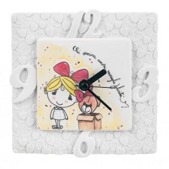 Bongelli Preziosi Orologio da tavolo per cameretta bambina con orsetto portafortuna      ME1813