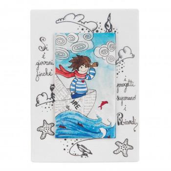 Bongelli Preziosi Bomboniera Vari Eventi - Quadretto piccolo con bambino sul mare e dedica      ME1831