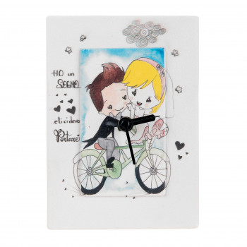 Bongelli Preziosi Orologio da tavolo per cameretta bimbi con innamorati in bici e dedica      ME1850