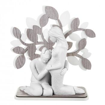 Bongelli Preziosi Scultura da tavolo in stile moderno con coppia in attesa con albero della vita  Rovere Breeze    ME1937/RO