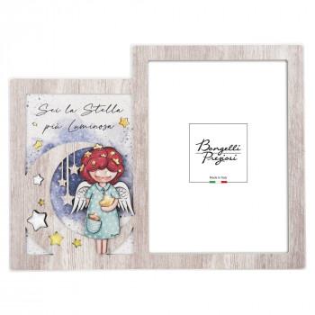 Bongelli Preziosi Bomboniera Nascita - Portafoto Angeli dei Sogni con stelline Femmina  Rovere Breeze    ME1997/F