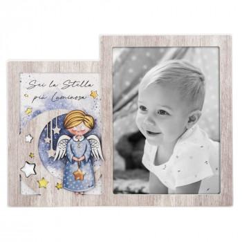 Bongelli Preziosi Bomboniera Nascita - Portafoto Angeli dei Sogni con stelline Maschio  Rovere Breeze    ME1997/M