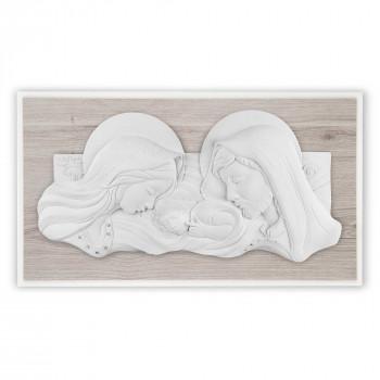 Bongelli Preziosi Capezzale moderno con la sacra famiglia in marmorino e pannello in legno      ME2105
