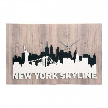 Bongelli Preziosi Orologio da parete moderno in legno con skyline di New Your