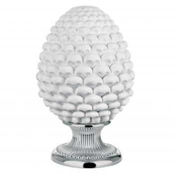 Bongelli Preziosi Lampada da tavolo moderna a forma di Pigna siciliana decorata a mano  Bianco    ME1876