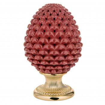 Bongelli Preziosi Lampada da tavolo moderna a forma di Pigna siciliana decorata a mano  Rosso    ME1876/RS