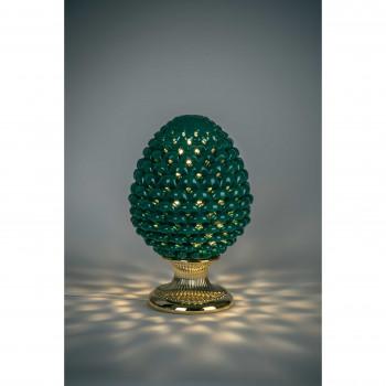 Bongelli Preziosi Lampada da tavolo moderna a forma di Pigna siciliana decorata a mano  Verde    ME1876/V