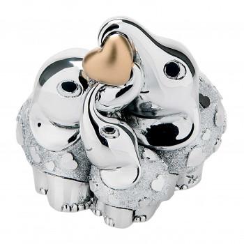 Bongelli Preziosi Bomboniera Vari Eventi - Elefantini portafortuna famiglia argento cuore dorato      ME1047