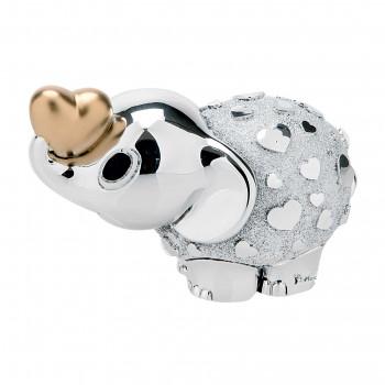 Bongelli Preziosi Bomboniera Vari Eventi - Elefantino portafortuna in argento con cuore dorato      ME1044