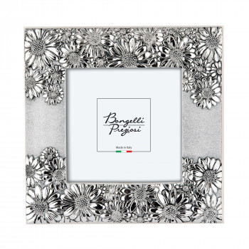 Bongelli Preziosi Portafoto da tavolo con cornice e margherite argentate di design moderno  Argento   15x15 ME958