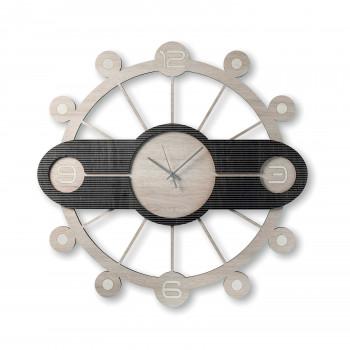 """Ves Design Orologio da parete rotondo in legno dal design moderno per soggiorno """"Galaxy"""" Istanti     L05R32"""