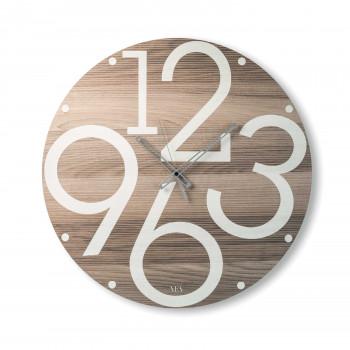 """Ves Design Orologio da parete rotondo in legno dal design moderno """"Lubalin"""" Istanti     L05R28"""