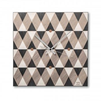 """Ves Design Orologio da parete in legno dal design moderno per salotto """"Vichy Black"""" Istanti     L05R02"""