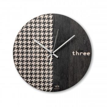 """Ves Design Orologio da parete in legno moderno per soggiorno o cucina """"Pied de poule"""" Istanti     L05R09"""