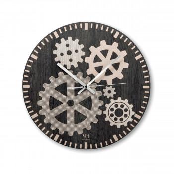 """Ves Design Orologio da parete in legno design moderno per salotto o cucina """"Meccano"""" Istanti     L05R10"""