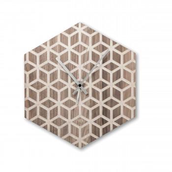 """Ves Design Orologio da parete in legno dal design moderno """"Hexago"""" Istanti     L05R07"""