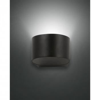 Fabas Luce Applique da parete per esterno a LED con struttura in alluminio e vetro Lao Nero Lumen 540 3000k Luce Calda  3603-21-101