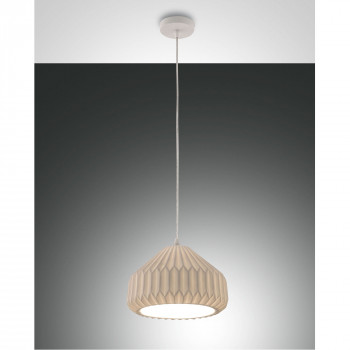 Fabas Luce Illuminazione a sospensione grande moderna in metallo e paralume in ceramica Vigor Bianco    3613-45-102