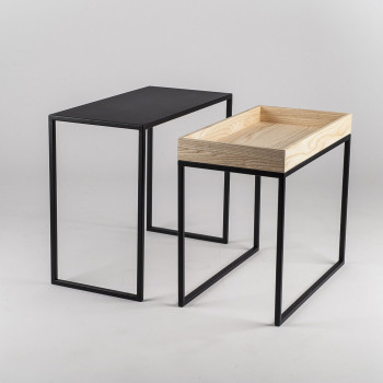 """Formae Tavolinetto multifunzionale moderno in acciaio con ripiano in legno """"Ambrogio""""      AMBRUU"""