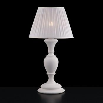Bonetti Illumina Lampada da tavolo in legno con paralume in plissè bianco Fiorenza     BL172-LM