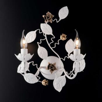 Bonetti Illumina Appliques da parete classica in metallo laccato con decorazione decapè 2 luci Bella     BL196-AP2