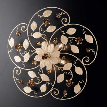 Bonetti Illumina Plafoniera classica in metallo laccato con decorazione decapè 5 luci Bella     BL196-PL5