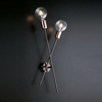 Bonetti Illumina Applique da parete cromato nero 2 luci con rifiniture oro rosa Bloom Cromato    BL200-AP2