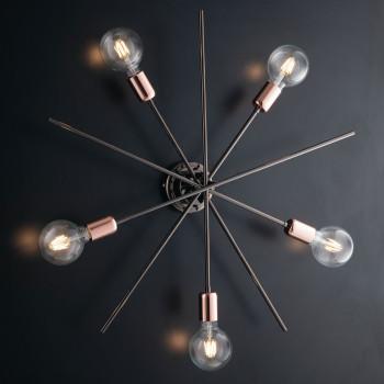 Bonetti Illumina Plafoniera moderna in metallo cromo nero 5 luci con rifiniture oro rosa Bloom Cromato    BL200-PL5